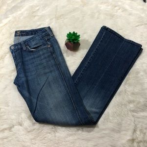 7 For All Mankind Distressed Flare Blue Jeans